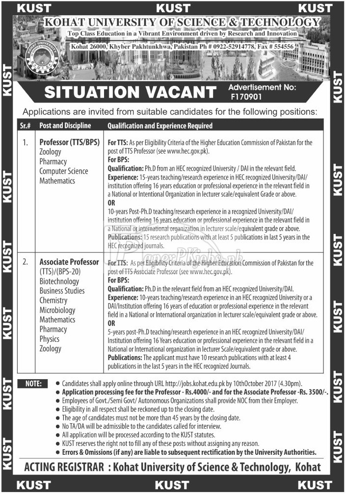 Kohat University of Science & Technology KUST Kohat Jobs 2017
