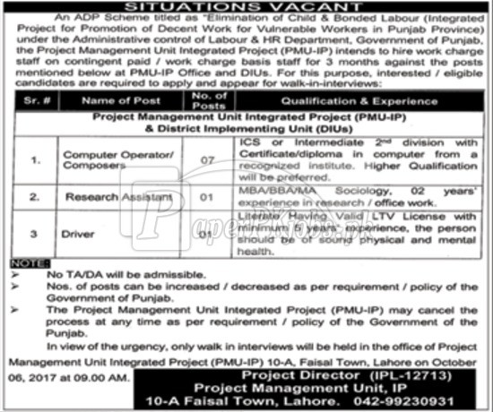 Labour & HR Department Government of Punjab Jobs 2017
