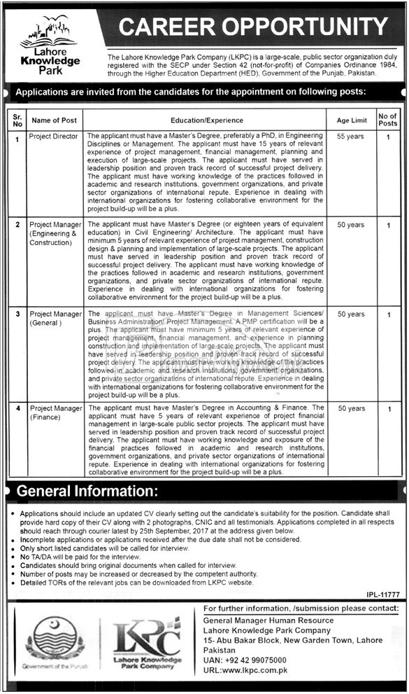 Lahore Knowledge Park Company LKPC Jobs 2017
