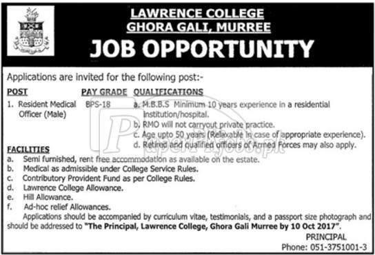 Lawrence College Ghora Gali Murree Jobs 2017