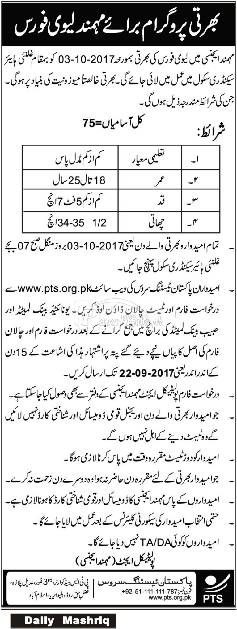 Levies Force Mohmand Agency PTS Jobs 2017