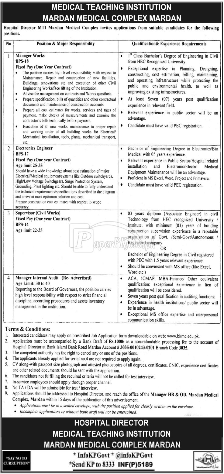 MTI Mardan Medical Complex Mardan Jobs 2017