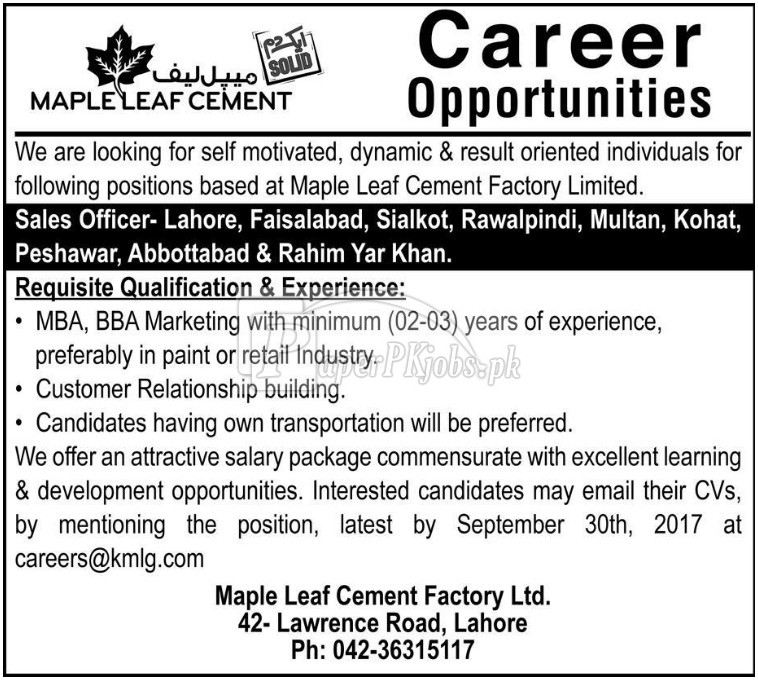 Maple Leaf Cement Factory Lahore Jobs 2017