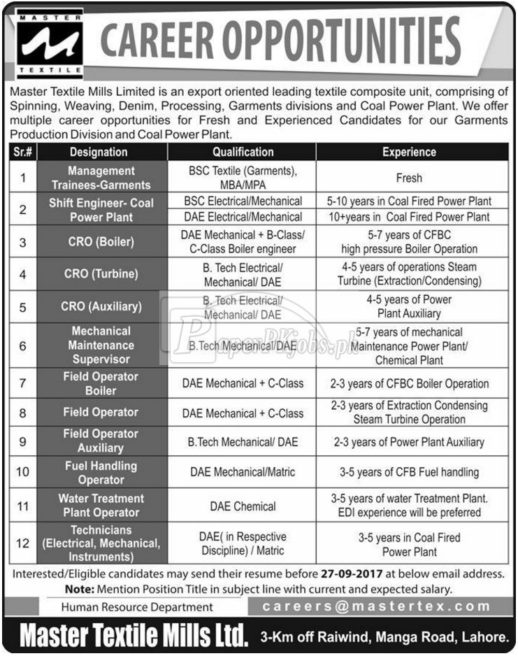 Master Textile Mills Limited Lahore Jobs 2017 - PaperPk Jobs