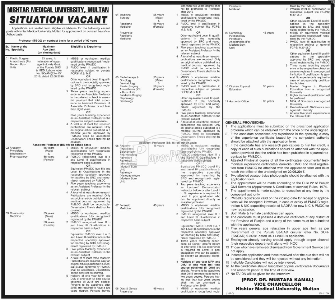 Nishtar Medical University Multan Jobs 2017