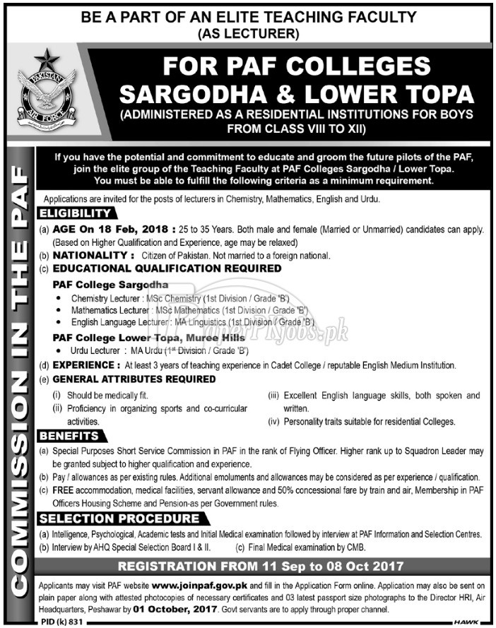 PAF Colleges Sargodha & Lower Topa Jobs 2017