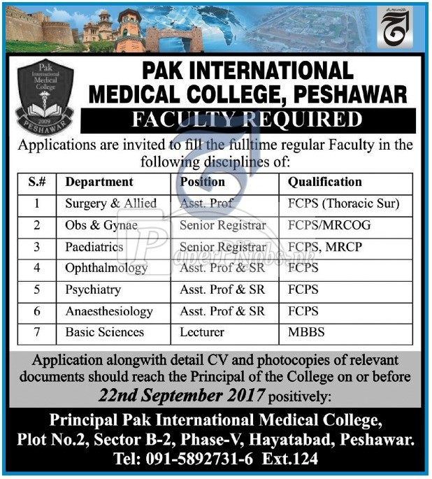 Pak International Medical College Peshawar Jobs 2017
