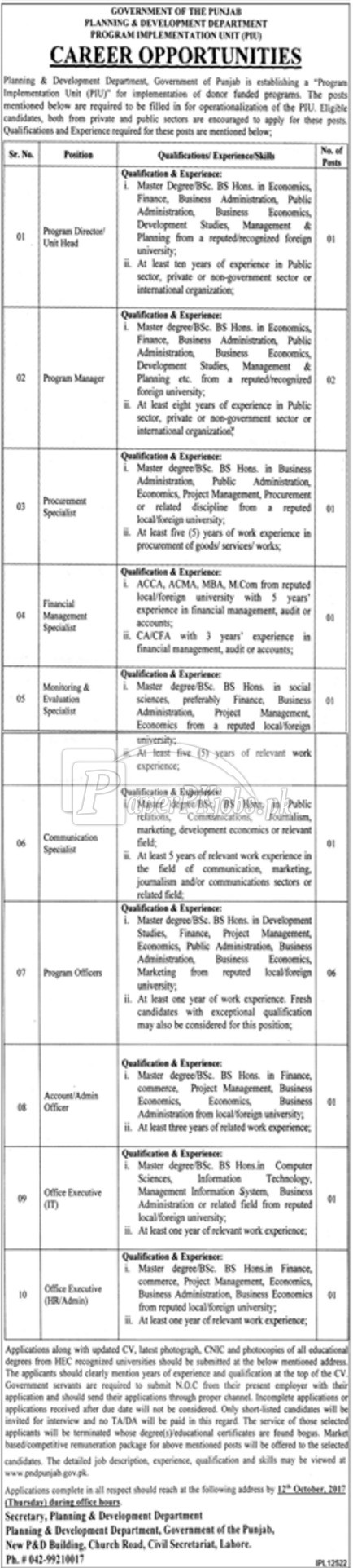 Planning & Development Department Government of Punjab Jobs 2017