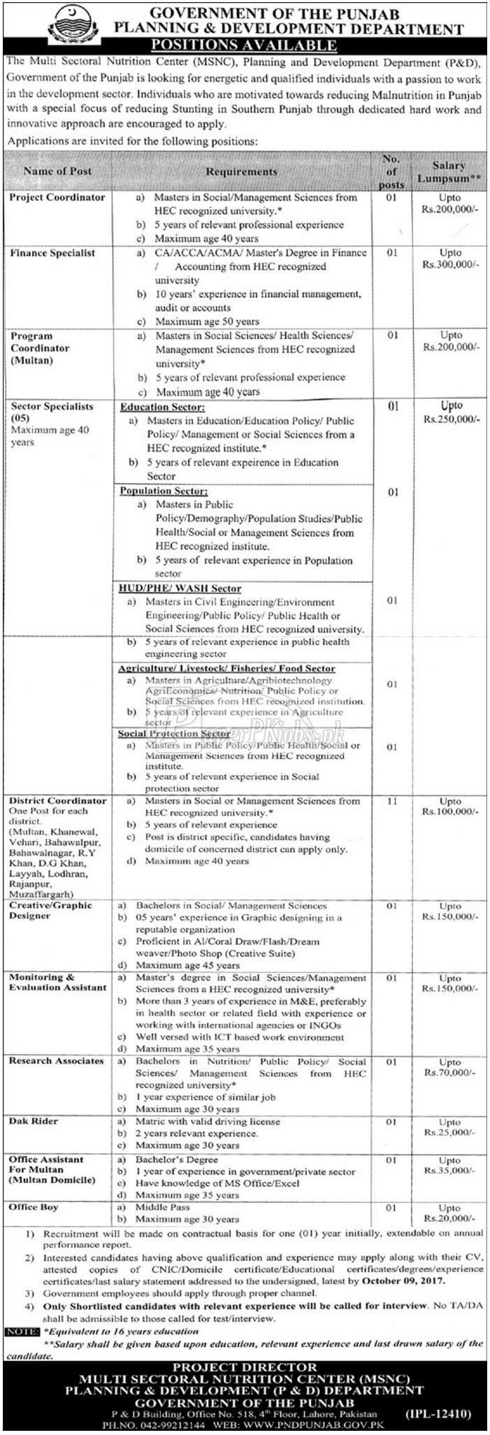 Planning & Development P&D Department Government of Punjab Jobs 2017