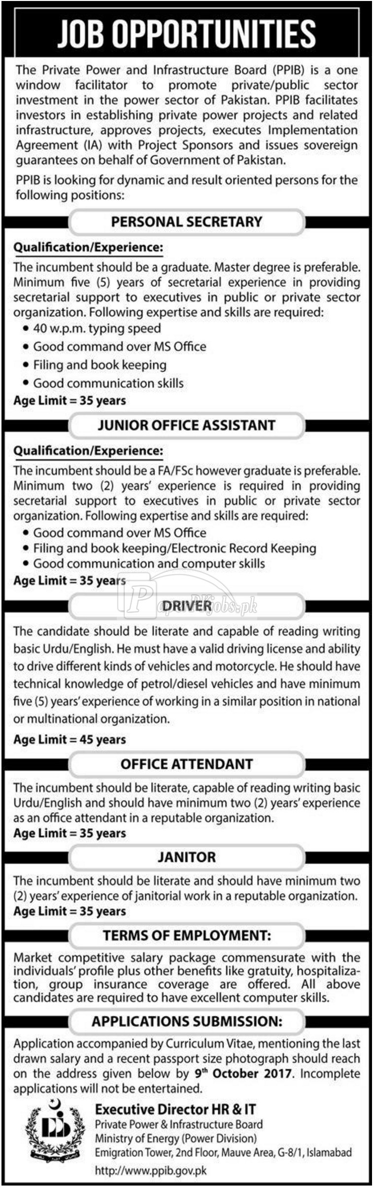 Private Power & Infrastructure Board PPIB Ministry of Energy Islamabad Jobs 2017