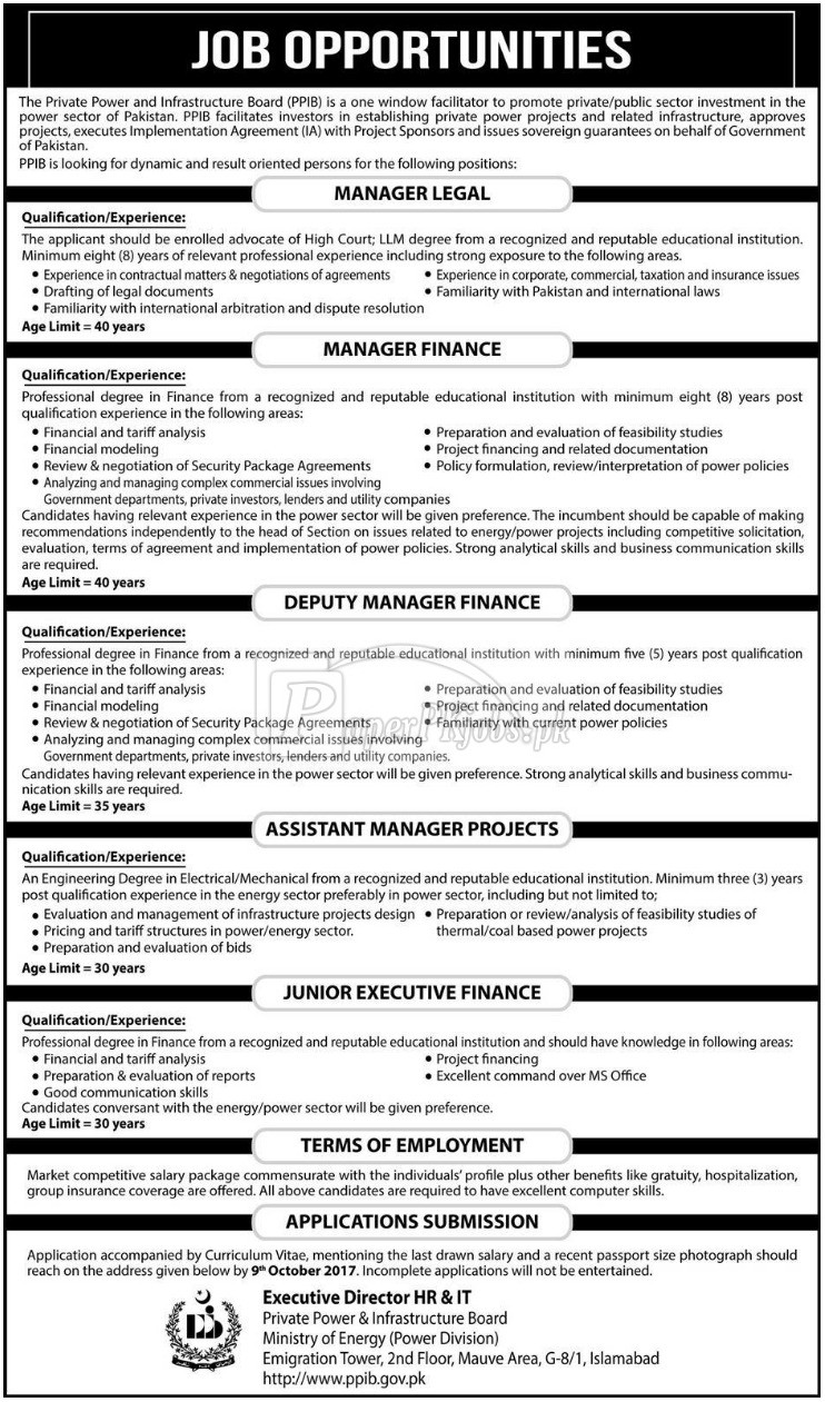 Private Power & Infrastructure Board PPIB Ministry of Energy Islamabad Jobs 2017(1)