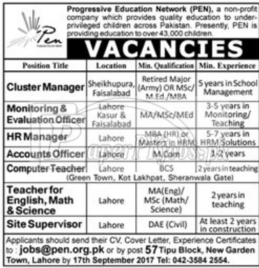 Progressive Education Network PEN NGO Jobs 2017