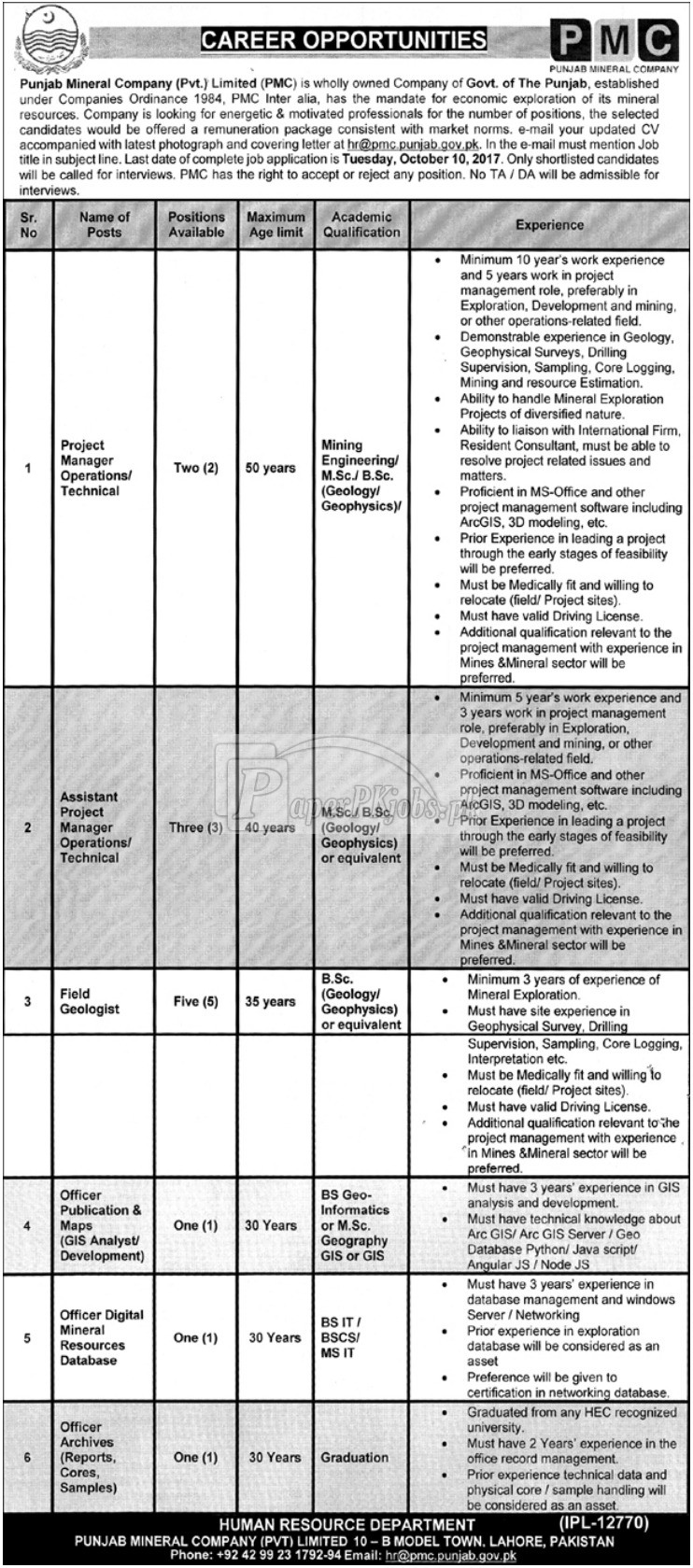 Punjab Mineral Company PMC Lahore Jobs 2017
