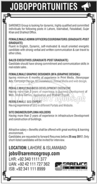 SAREMCO Group Jobs 2017