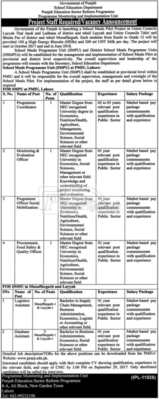 School Education Department Government of Punjab Jobs 2017