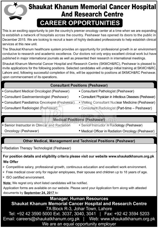 Shaukat Khanum Memorial Cancer Hospital & Research Center SKMCH&RC Jobs 2017