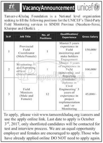 Tameer-e-Khalaq Foundation TKF UNICEF Sindh Jobs 2017