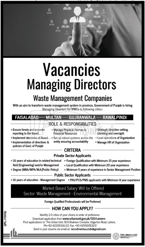 Waste Management Companies WMC Government of Punjab Jobs 2017