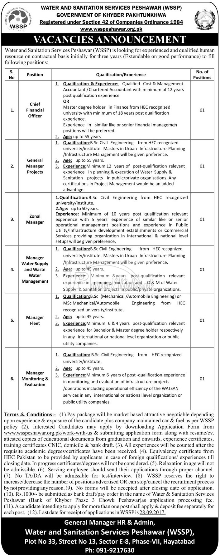 Water & Sanitation Services Peshawar WSSP Jobs 2017