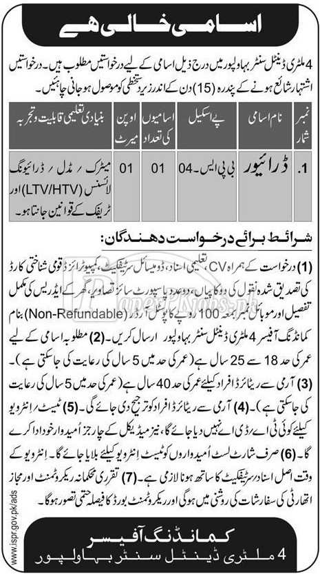 4 Military Dental Center Bahawalpur Jobs 2017