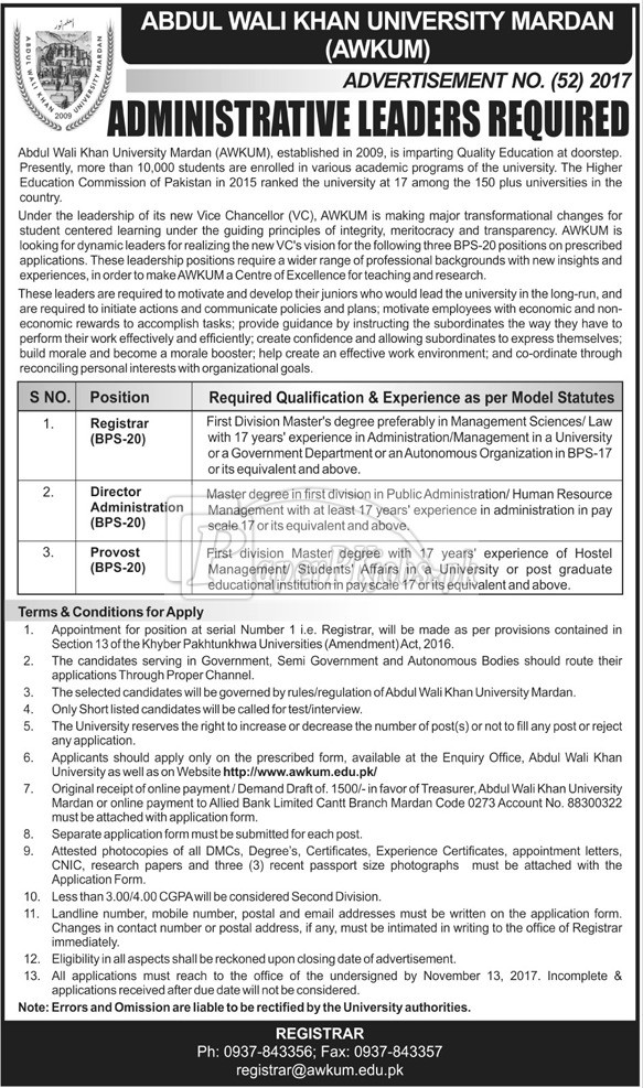 Abdul Wali Khan University Mardan AWKUM Jobs 2017