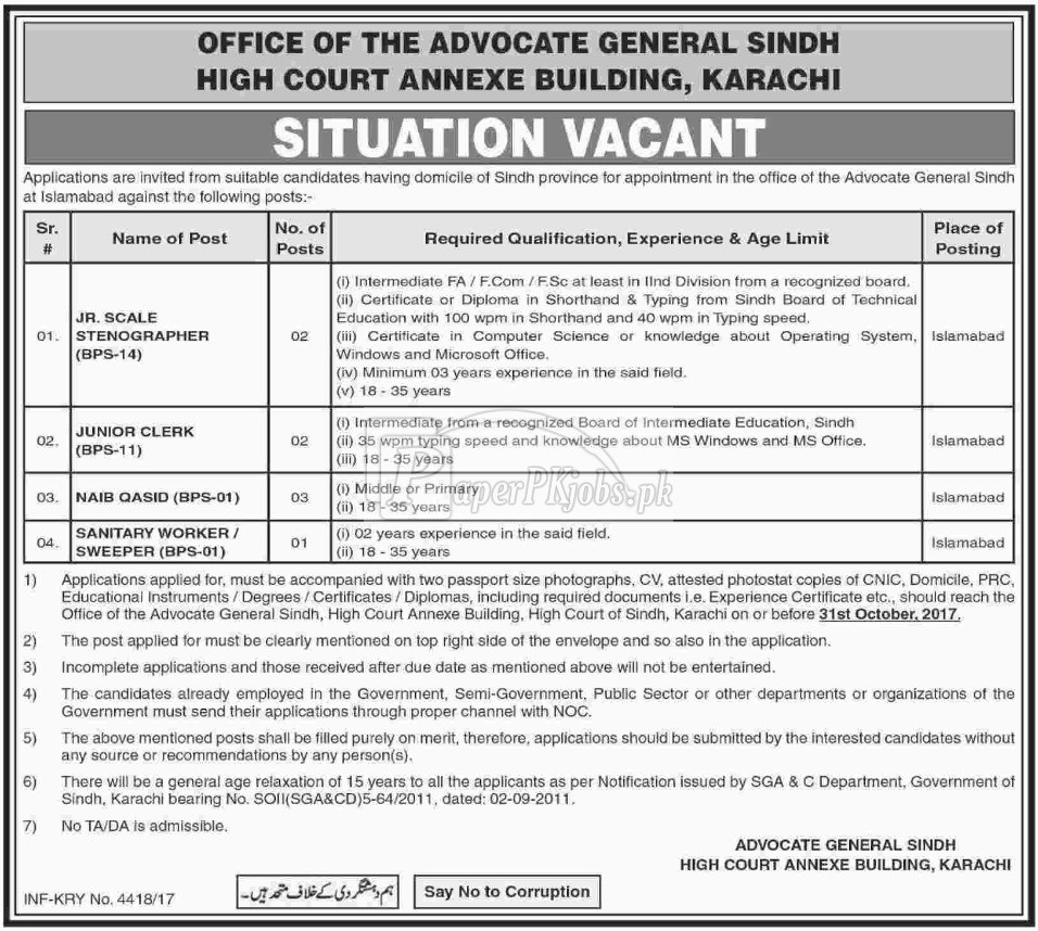 Advocate General Sindh High Court Annexe Building Karachi Jobs 2017