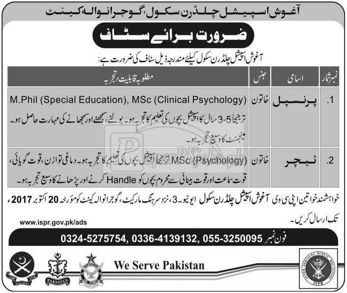 Aghosh Special Children School Gujranwala Cantt Jobs 2017