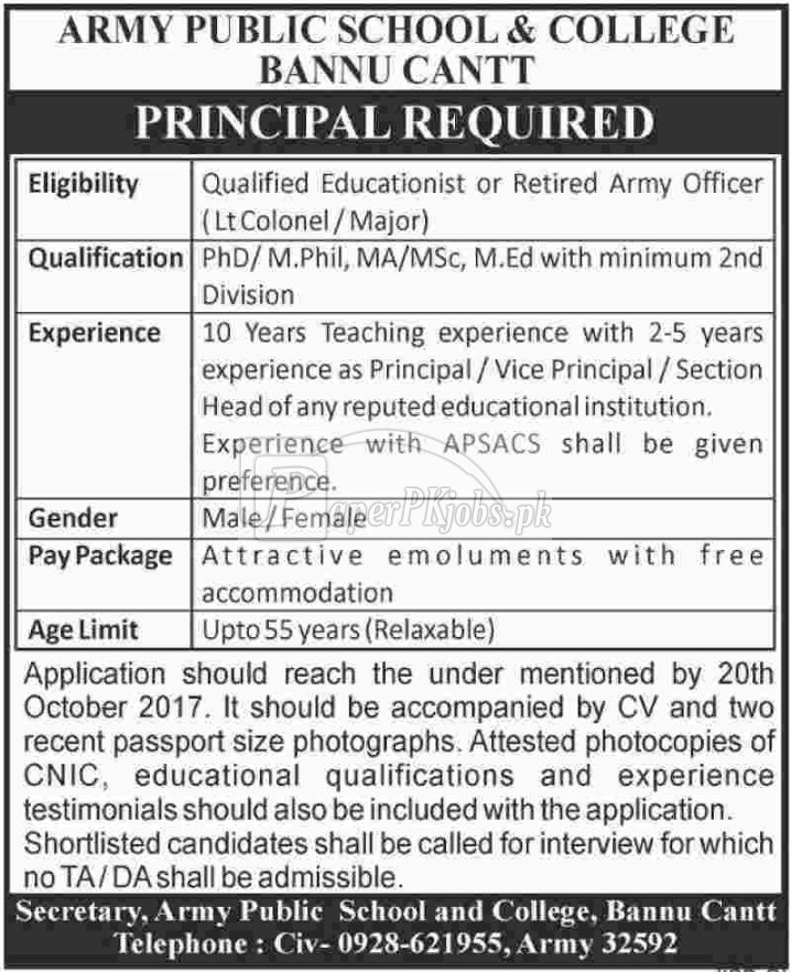 Army Public School & College Bannu Cantt Jobs 2017