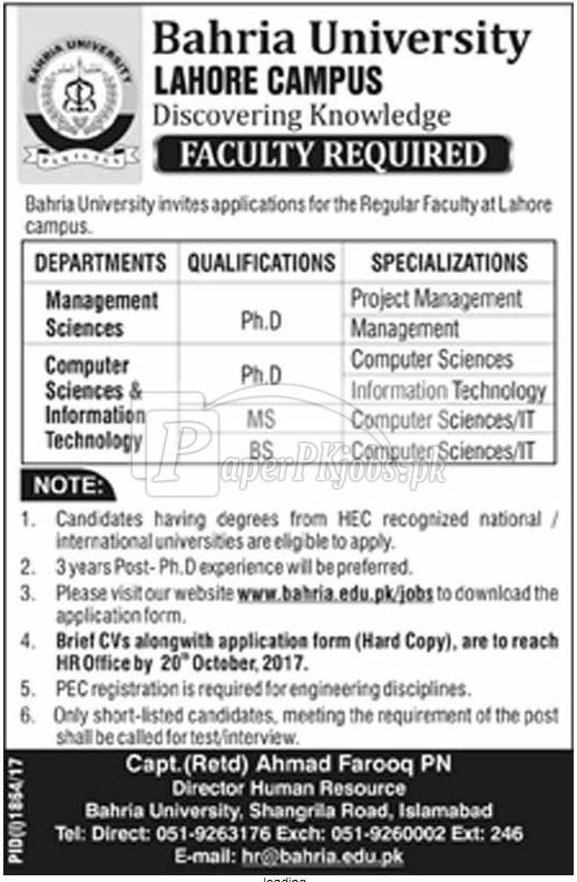 Bahria University Lahore Jobs 2017