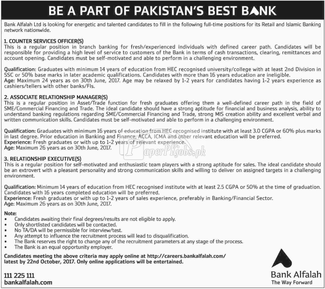 Bank Alfalah Jobs 2017
