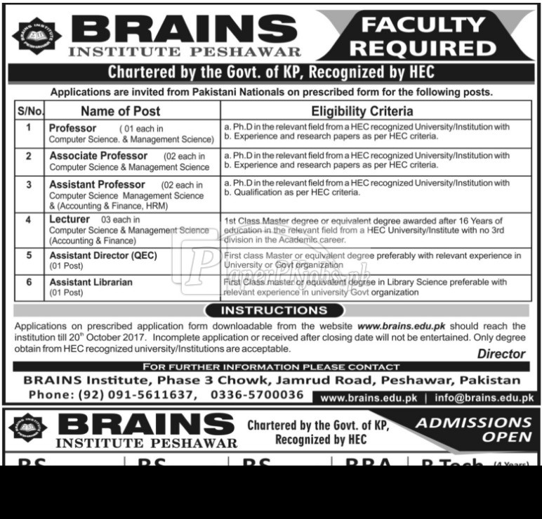 Brains Institute Peshawar Jobs 2017