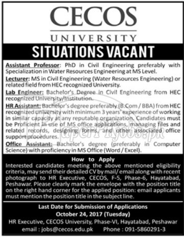 CECOS University Peshawar Jobs 2017