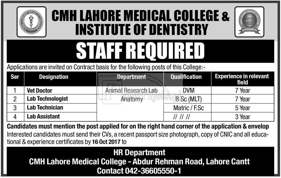 CMH Lahore Medical College & Institute of Dentistry Lahore Cantt Jobs 2017