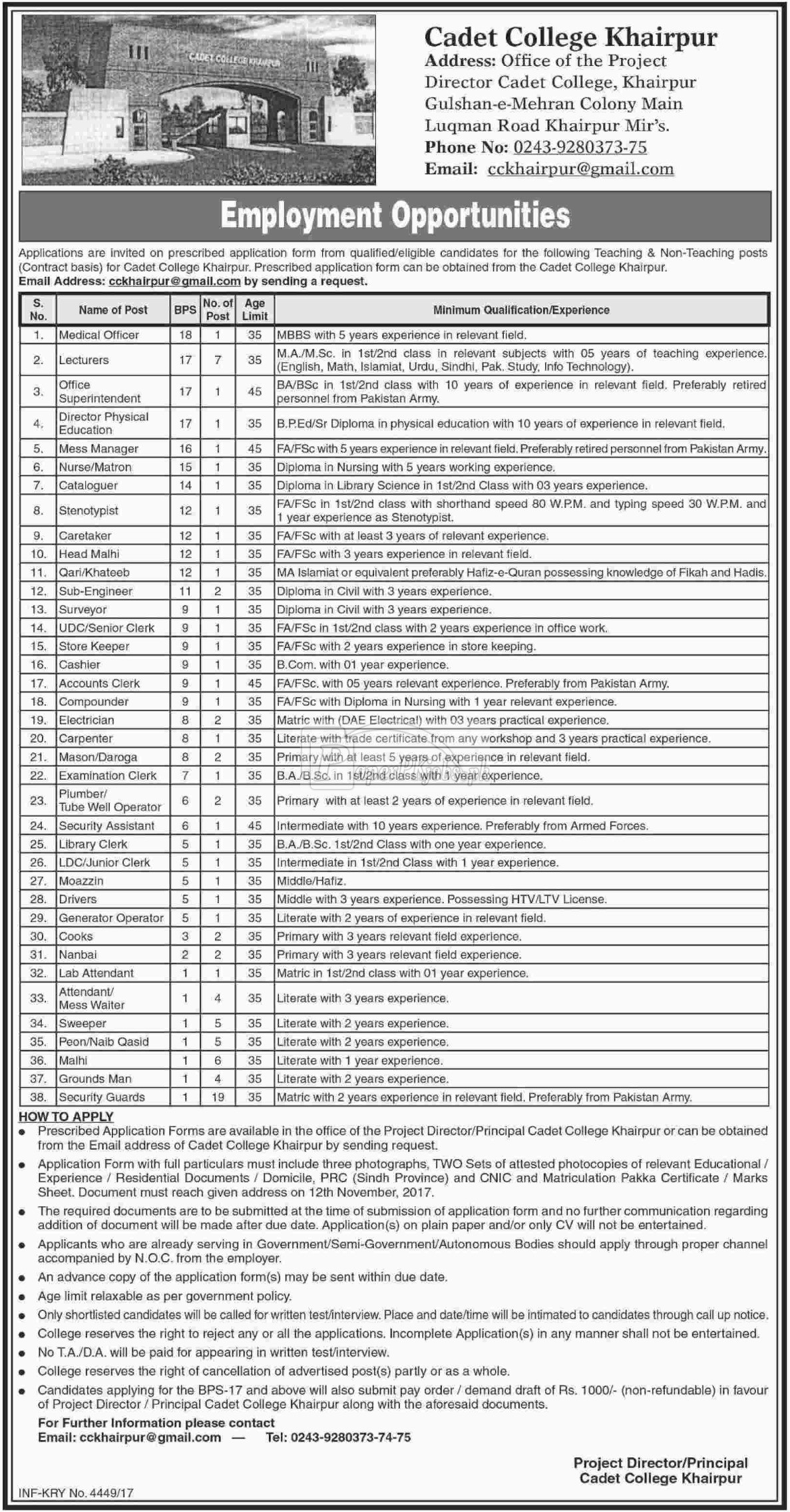 Cadet College Khairpur Jobs 2017