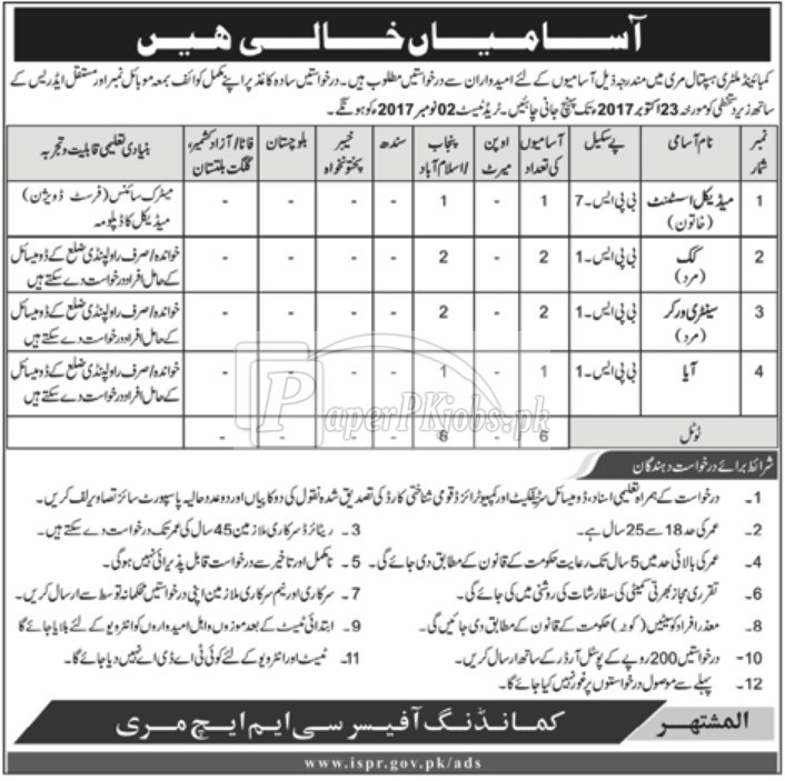 Combined Military Hospital CMH Murree Jobs 2017 - PaperPk Jobs
