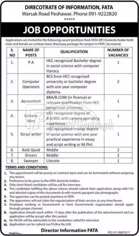 Directorate of Information FATA Peshawar Jobs 2017