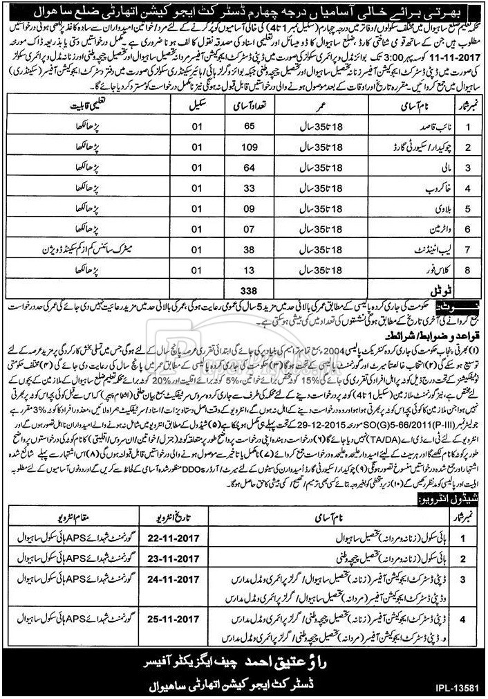 District Education Authority Sahiwal Jobs 2017