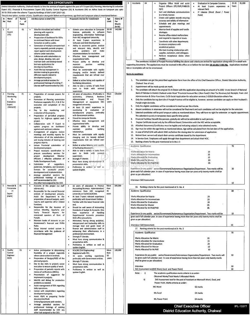 District Education Authority Chakwal Jobs 2017