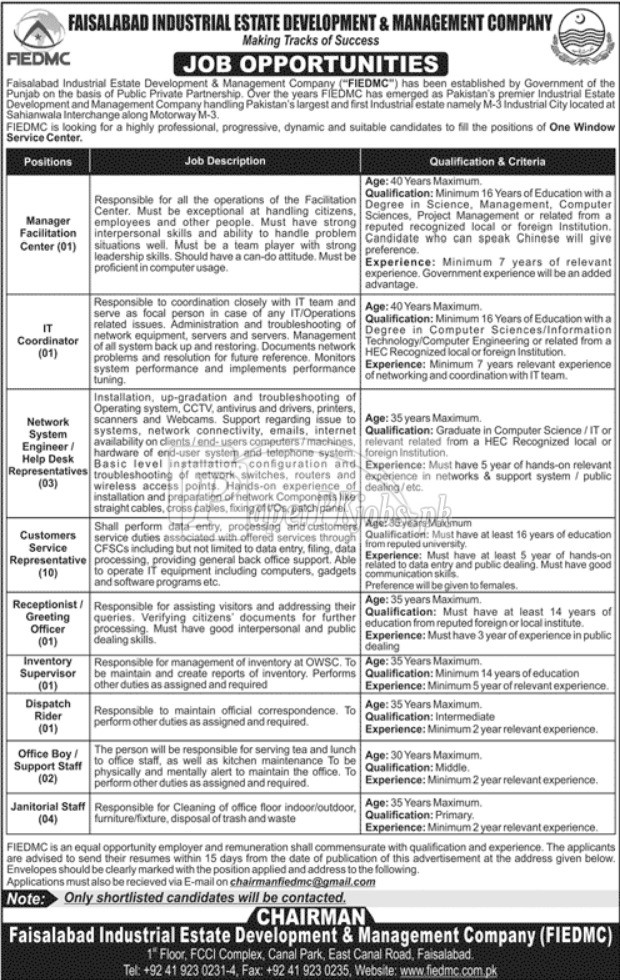 Faisalabad Industrial Estate Development & Management Company FIEDMC Jobs 2017