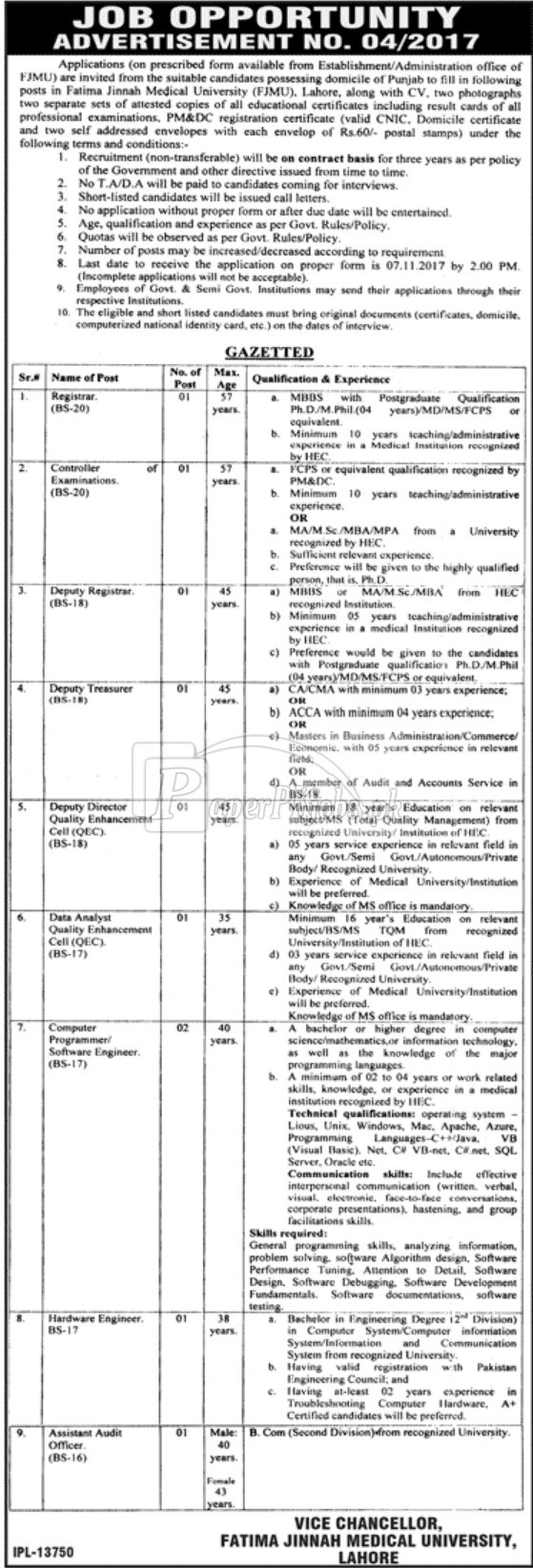 Fatima Jinnah Medical University FJMU Lahore Jobs 2017
