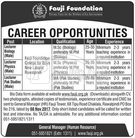 Fauji Foundation Jobs 2017