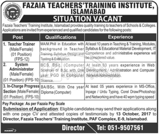 Fazaia Teachers Training Institute Islamabad Jobs 2017