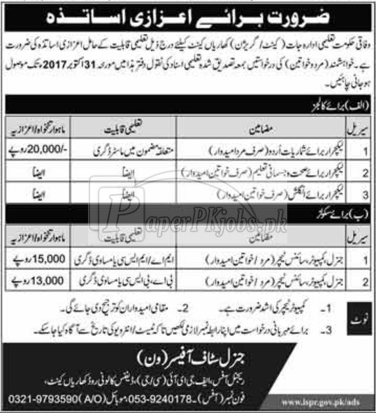 Federal Government Educational Institutions FGEI Jobs 2017