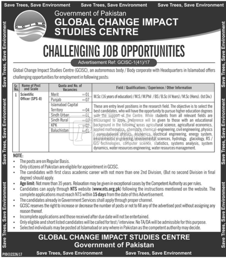 Global Change Impact Studies Centre GCISC Government of Pakistan Jobs 2017