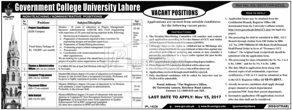 Government College GC University Lahore Jobs 2017