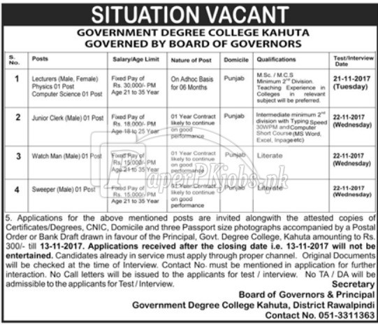 Government Degree College Kahuta Rawalpindi Jobs 2017