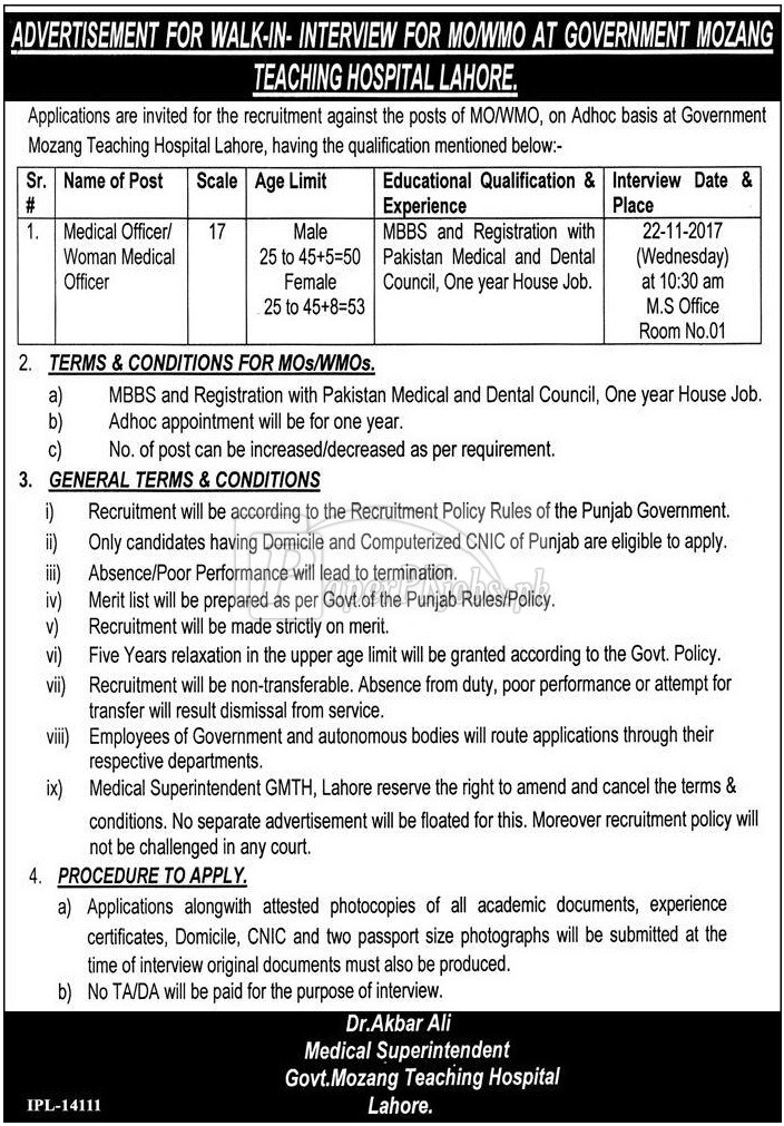 Government Mozang Teaching Hospital Lahore Jobs 2017