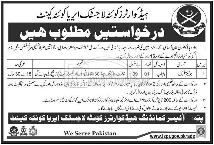 Headquarters Quetta Logistic Area Quetta Cantt Jobs 2017