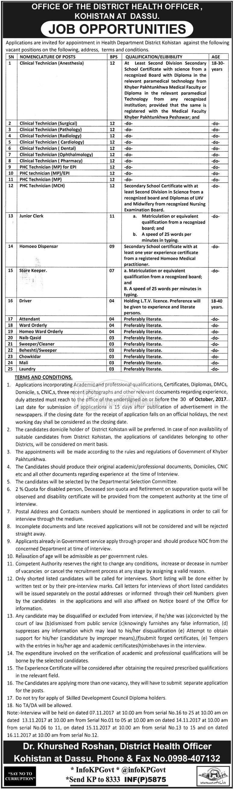 Health Department Kohistan Jobs 2017