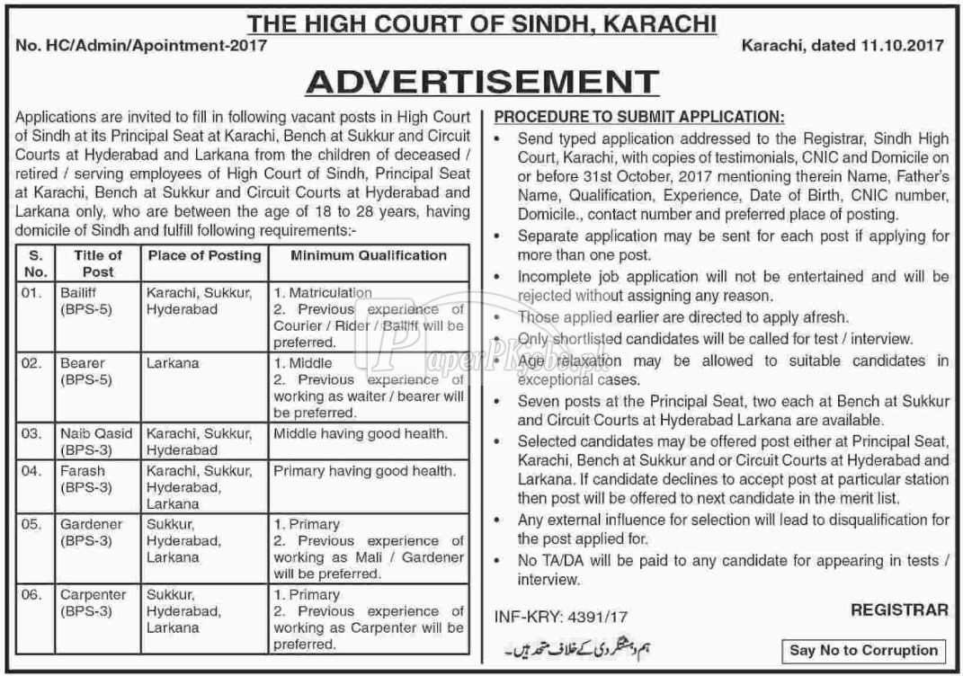High Court of Sindh Karachi Jobs 2017